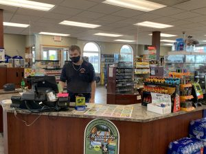 Checkout counter with employee