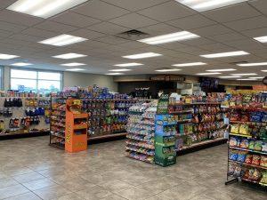 Snack aisles inside the Cenex
